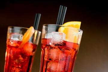 Fototapete - two glasses of spritz aperitif aperol cocktail with orange