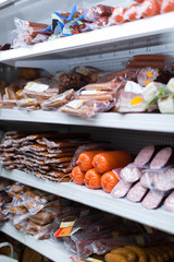 supermarket with meat vacuum meat products