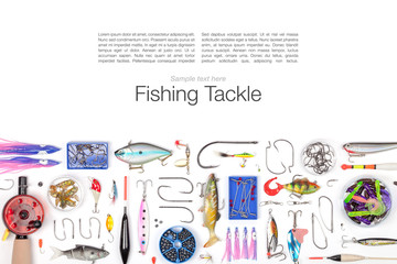 fishing tackle on white background