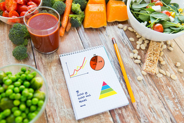 close up of ripe vegetables and notebook on table