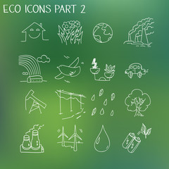 Ecology organic signs eco and bio elements in hand drawn style