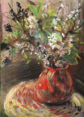 Hand drawn still life with flowers