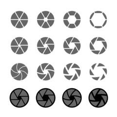 camera shutter icon set