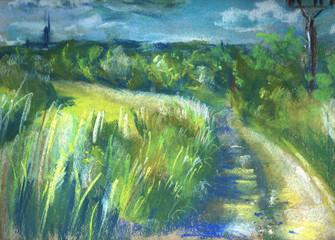 Hand drawn summer landscape, soft pastels