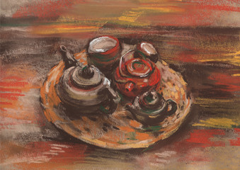Painting of a tea set