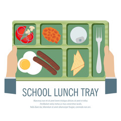 Hand Holding A School Lunch Tray Vector Illustration