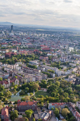aerial view of wroclaw city suburbs