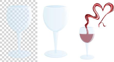 Bicchiere di vino con cuore