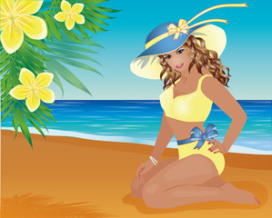 Summer pin up girl and palm flowers, vector illustration