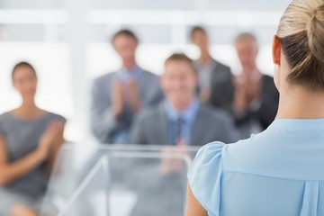 Businesswoman doing conference presentation