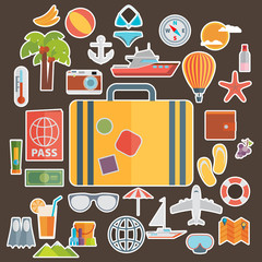 Flat icons set of traveling on airplane, planning a summer vacat