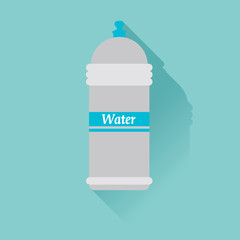 Water bottle. Flat design, with shadow.