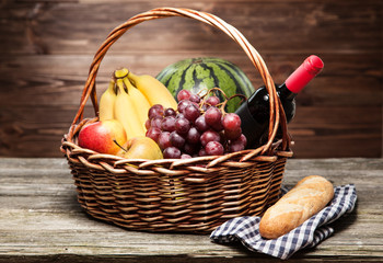 Basket full of fresh fruit