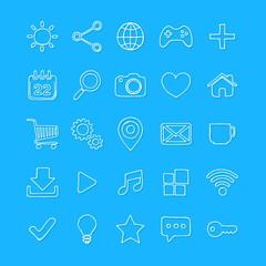 Hand drawn internet, web icon set. Vector illustration.