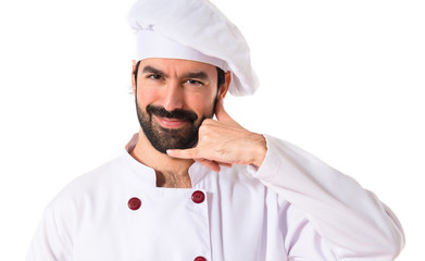 Chef making phone over white background