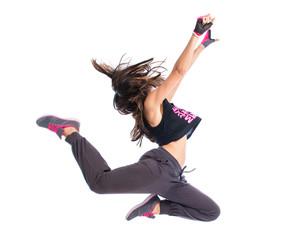 Teenager girl dancing hip hop
