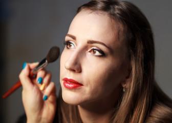 Professional makeup in studio.
