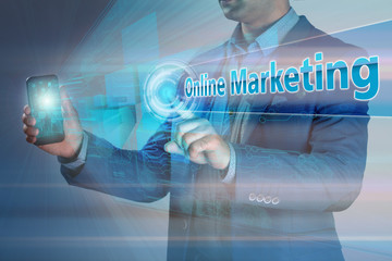 Business concept. Businessman holding smatrfon and click on the