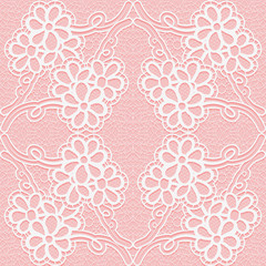 Delicate lace pattern on a pink background. Seamless ornament.