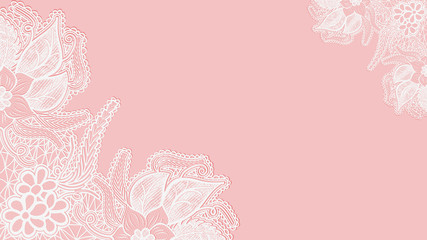 Pink lace background. Template greeting card