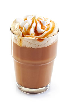 glass of latte coffee with whipped cream