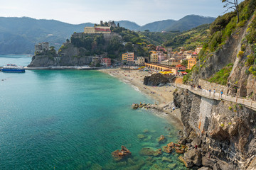 Coastline of Monterosso Beach at Ligurian Sea, Italy