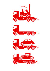 Tow truck icons on white background