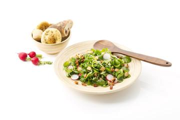 Feldsalat mit Speckwürfel, Croutons und Radieschen