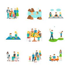 Set 9 of couple and family colorful element vector