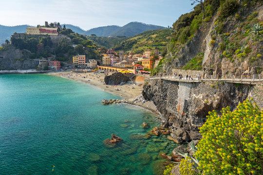 Coastline of Monterosso al Mare at Ligurian Sea, Italy