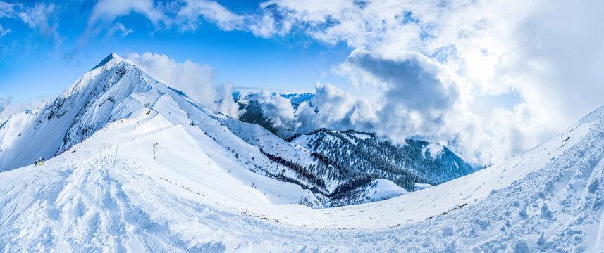 Krasnaya Polyana Sochi mountains snow ski sky descent speed