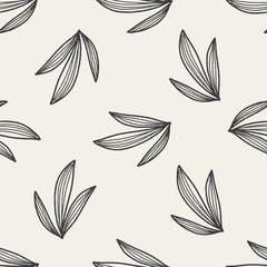 Foto op Canvas Boho Stijl plant doodle seamless pattern background