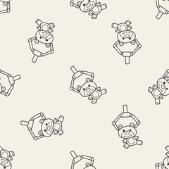 get bear doll doodle seamless pattern background