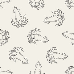 Squid doodle seamless pattern background