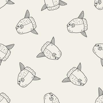 Sunfish doodle seamless pattern background