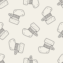 Christmas socks doodle drawing seamless pattern background