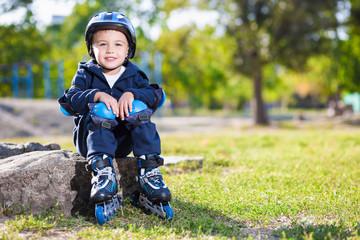 Cute little skater boy