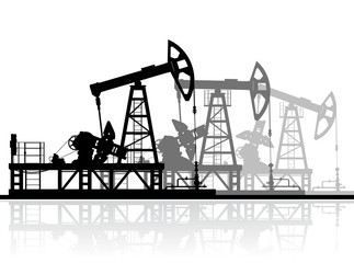 Oil pumps silhouette isolated on white background