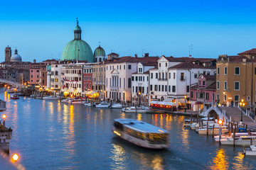 VENICE, ITALY. Grand channel (Canal Grande) in the evening