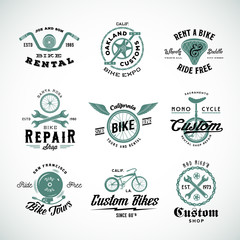 Retro Bicycle Vector Labels or Logo Templates Set