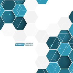 Abstract background with blue hexagonal vector pattern