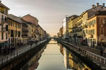 Shot from the bridge in Naviglio Grande in Milan (Italy)