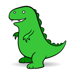 Green cartoon Godzilla monster