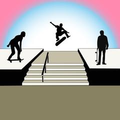 Skate park with skateboarders vector illustration