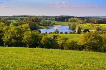 Foto op Canvas Pistache Colorful spring landscape with lake