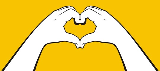 Heart shape girl hands