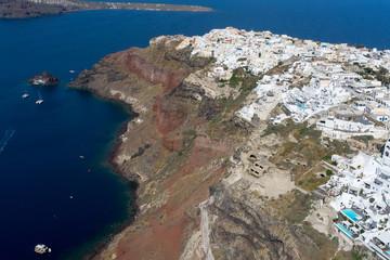 Aerial view of Oia in Santorini island, Greece