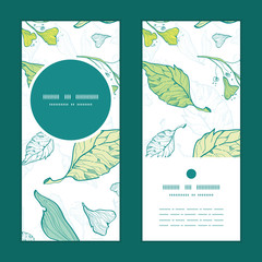 Vector lineart spring leaves vertical round frame pattern