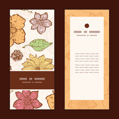 Vector warm fall lineart flowers vertical frame pattern