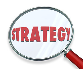 Strategy Magnifying Glass Evaluate Assess Examine Plan Mission O